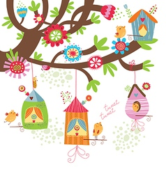 Spring Background with birds nests vector image vector image