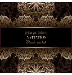 Wedding invitation or card intricate lace mandala vector