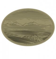 woodcut mountain scene vector image vector image