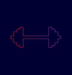 dumbbell weights sign line icon with vector image