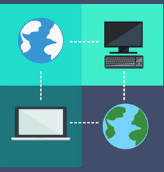 Flat icons planets and computer connection vector