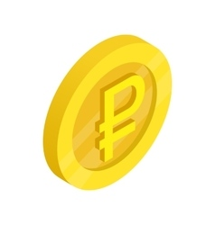 Gold coin with ruble sign icon isometric 3d style vector image