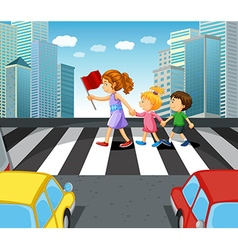 People crossing stree in the city vector image vector image