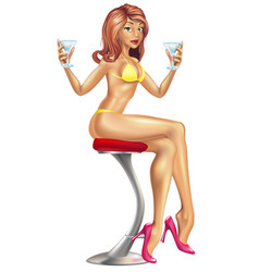 sexy woman in bikini with cocktails vector image