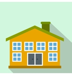 Yellow two-storey house flat icon vector image vector image