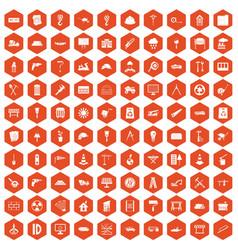 100 construction site icons hexagon orange vector