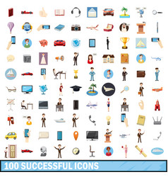 100 successful icons set cartoon style vector image