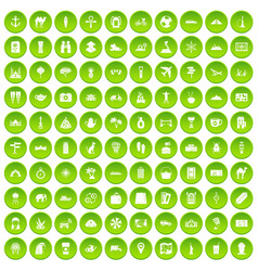 100 tourism icons set green circle vector