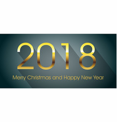 2018 happy new year card with gold text and long vector image
