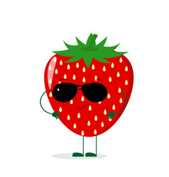 a cute strawberry character in the style of a vector image