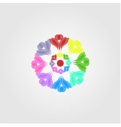abstract overlapping colorful flower mandala vector image