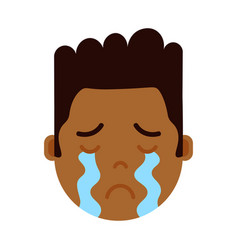 African boy head emoji personage icon with facial vector