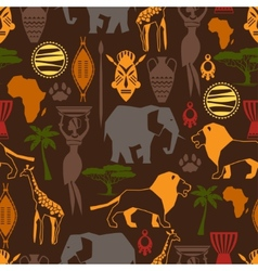 African ethnic seamless pattern with stylized icon vector image