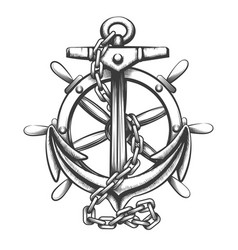 anchor and ship wheel tattoo in engraving style vector image