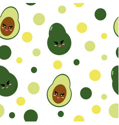 Avocado with cute smiling face in flat seamless vector