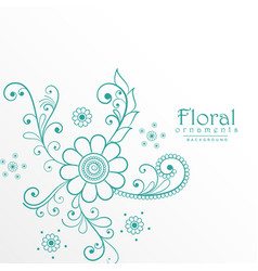 beautiful blue floral decoration background vector image