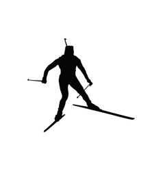 biathlon sportsman silhouette vector image