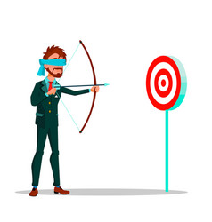 Blindfolded businessman aiming at target from a vector