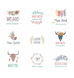Bohemian ethnic icons with feathers wreath vector
