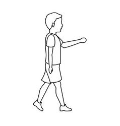 Boy young walking with tshirt and short outline vector
