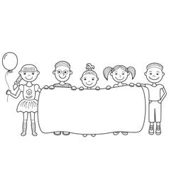 Cartoon children holding empty banner vector