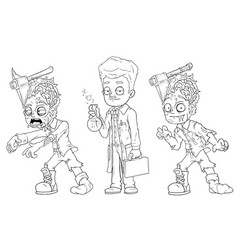 Cartoon walking zombie scientist character set vector