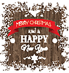 christmas background with snowy border and wooden vector image