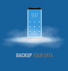 cloud storage for cell phone 3d realistic vector image