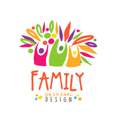 Colorful happy family logo design template vector