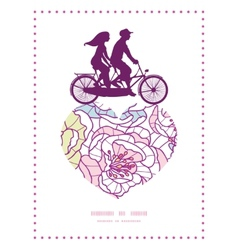 colorful line art flowers couple on tandem bicycle vector image
