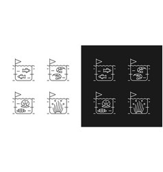 Commercial sea product farming linear icons set vector