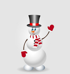 cute cartoon snowman character in top hat on vector image