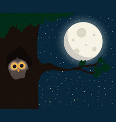 Cute owl sit at hollow under the moon vector