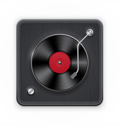 Detailed icon of the retro vinil record player vector