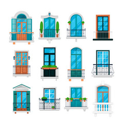 different railing window balcony building design vector image