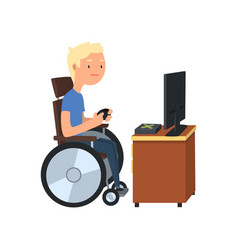 Disabled man in wheelchair playing computer game vector