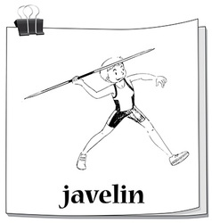 Doodle of man doing javelin vector