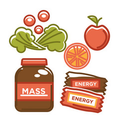 Eco fruit and vegetables with energy chocolate vector