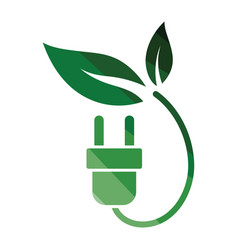 electric plug leaves icon vector image