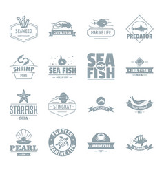 Fish sea logo icons set simple style vector