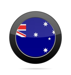 Flag of Australia Shiny black round button vector
