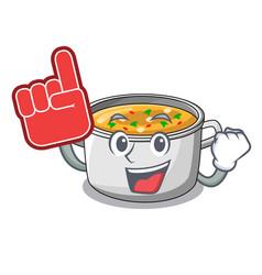 Foam finger cartoon homemade stew soup in the pot vector
