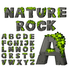 Font design with rock texture vector