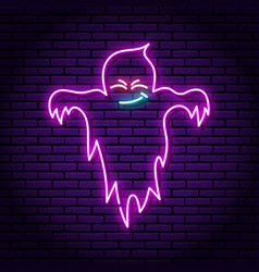 Ghost purple neon sign against background vector
