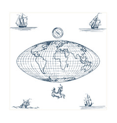 Graphic earth globe map with vector