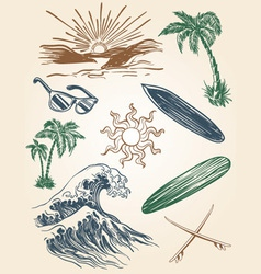 hand drawn beach and surf set vector image