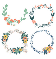 Hand drawn design of colorful floral wreaths vector
