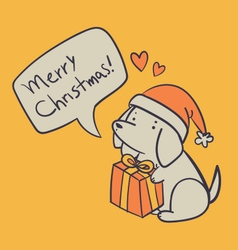Hand Drawn Dog Holding a Present and Wishing a Mer vector image