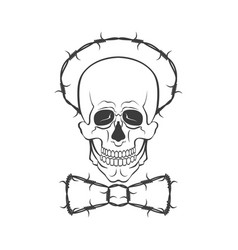 hand drawn skull with barbed wire vector image