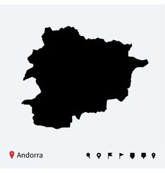 High detailed map of Andorra with navigation pins vector image